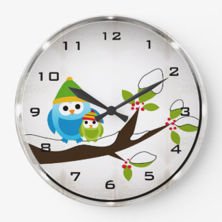 Winter Owls Round Wall Clock