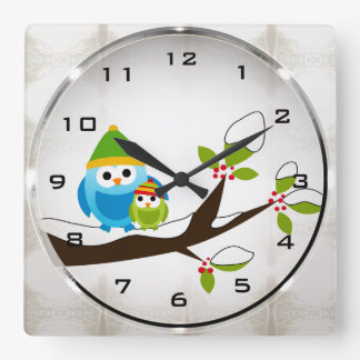 Winter Owls Square Wall Clock