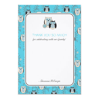 "Winter Owls Thank You Flat Cards 3.5"" X 5"" Invitation Card"