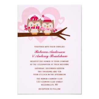 """Winter Owls Wedding 5"""" X 7"""" Invitation Card"""