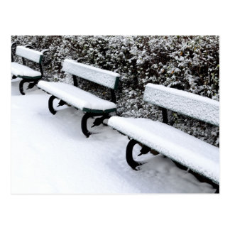Winter park benches postcard