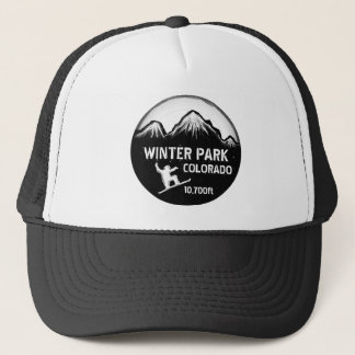 Winter Park Colorado black snowboard art hat