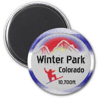 Winter Park Colorado flag snowboard art magnet