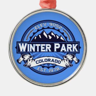 Winter Park Logo Blue Metal Ornament