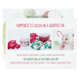 Winter Party Invite Cocoa Snow Christmas Festive