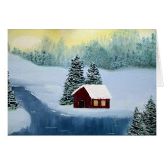 Winter Peace Cabin Frozen River Landscape Scene Card