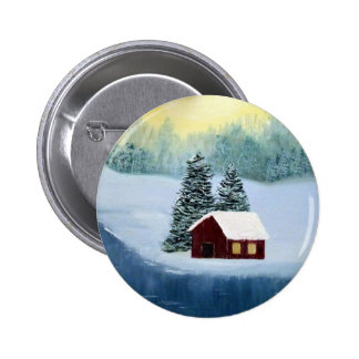 Winter Peace Frozen Ice Snow River Trees Landscape 2 Inch Round Button
