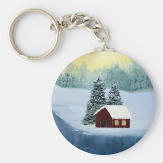 Winter Peace Frozen Ice Snow River Trees Landscape Basic Round Button Keychain