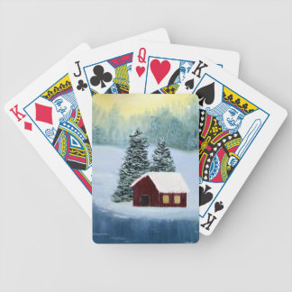 Winter Peace Frozen Ice Snow River Trees Landscape Bicycle Playing Cards