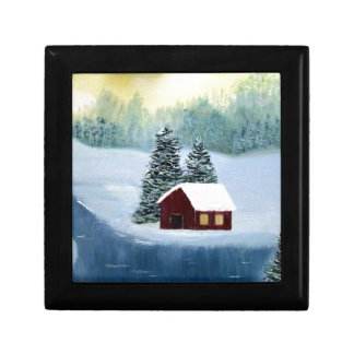 Winter Peace Frozen Ice Snow River Trees Landscape Gift Box