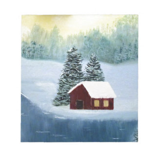 Winter Peace Frozen Ice Snow River Trees Landscape Notepad