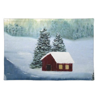 Winter Peace Frozen Ice Snow River Trees Landscape Placemat