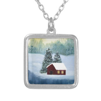 Winter Peace Frozen Ice Snow River Trees Landscape Silver Plated Necklace
