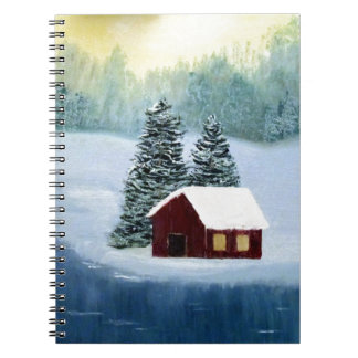 Winter Peace Frozen Ice Snow River Trees Landscape Spiral Notebook