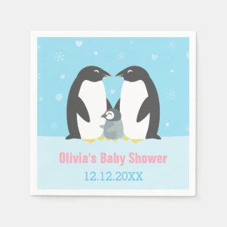 Winter Penguin Family Baby Shower Paper Napkins