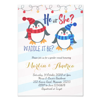 Winter Penguin Gender Reveal Invitation