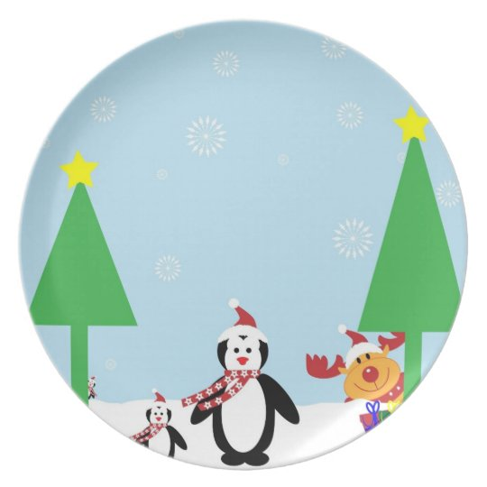 Winter Penguin Holiday Plate