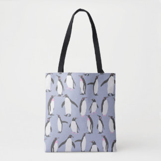 Winter Penguins seamless pattern + your ideas Tote Bag