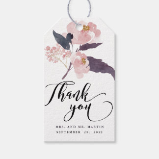 Winter Peonies Floral Wedding Thank You Favor Pack Of Gift Tags