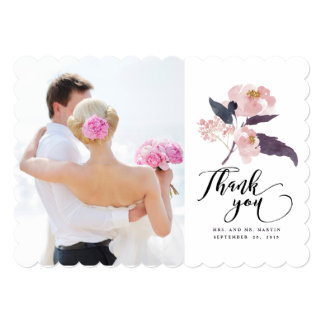 Winter Peonies Floral Wedding Thank You Photo Card