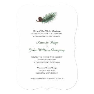 "Winter Pine Branch and Pinecone   Wedding 5"" X 7"" Invitation Card"