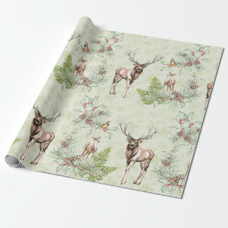 Winter Pine Cone Forest Animals Deer Birds Wrapping Paper