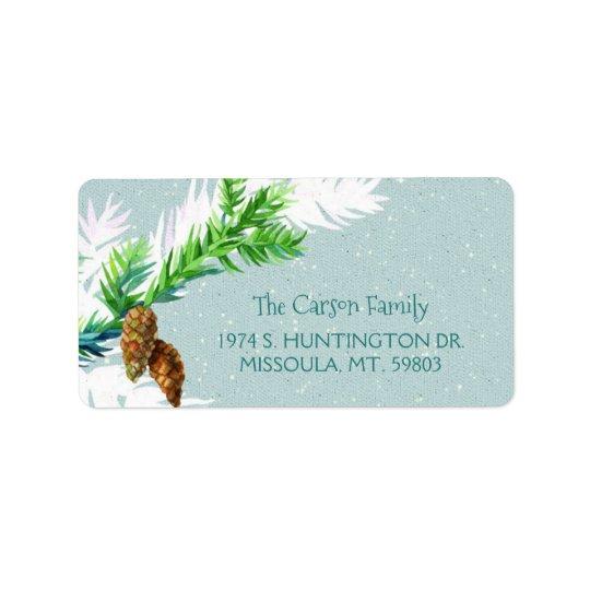 Winter Pine Cones Holiday Address Label