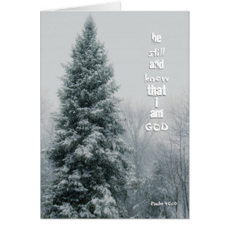 Winter Pine in Storm I Am God Scripture Greeting Card