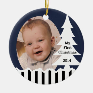 Winter Pine Trees and Stripes Photo Ceramic Ornament