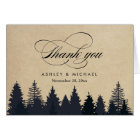 Winter Pine Trees Forest Script Kraft Thank You Card