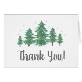 Winter  Pine Trees Thank you Note Card