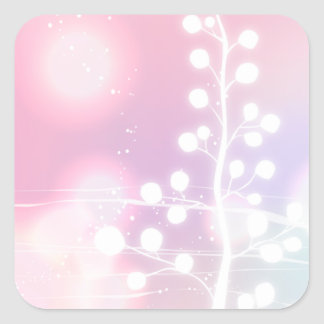 Winter, Pink, Christmas Square Sticker