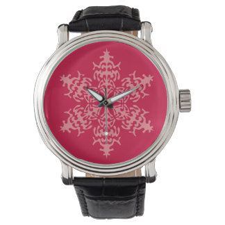 Winter Pink Snow Snowflakes Watch