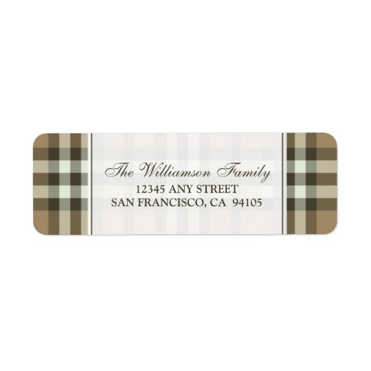 Winter Plaid Holiday Address Labels (taupe)