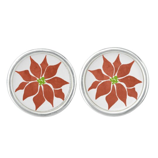 Winter Poinsettia Watercolor Cuff Links