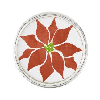 Winter Poinsettia Watercolor Lapel Pin