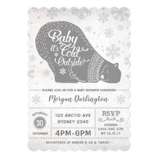Winter Polar Bear Baby Shower Invitation Snowflake