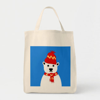 Winter Polar Bear - Grocery Tote Grocery Tote Bag