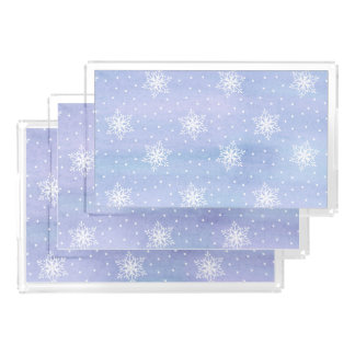 Winter Purple Blue Sky White Snowflakes Polka Dots Perfume Tray