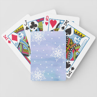 Winter Purple Blue Sky White Snowflakes Polka Dots Poker Deck