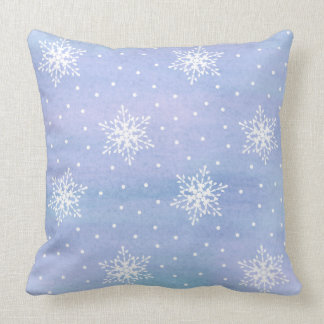 Winter Purple Blue Sky White Snowflakes Polka Dots Throw Pillow