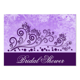 Winter Purple Snowflake Bridal Shower Invitations