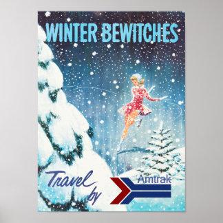 Winter Railroad Travel Poster