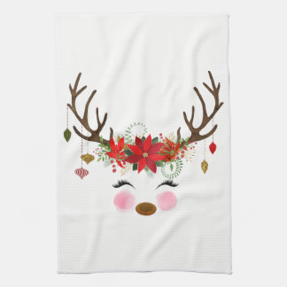 Winter Red White Gold Poinsettia Holiday Whimsical Kitchen Towel