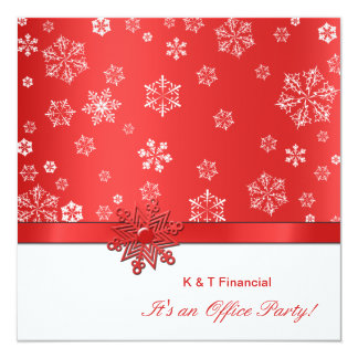 Winter Red & White Snowflake Office Party Card