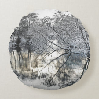 Winter Reflections Round Pillow