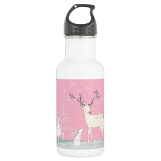 Winter Reindeer and Bunny in Falling Snow 532 Ml Water Bottle