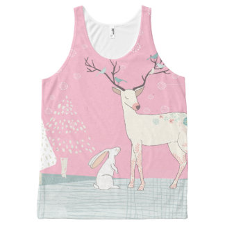 Winter Reindeer and Bunny in Falling Snow All-Over-Print Tank Top