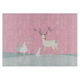 Winter Reindeer and Bunny in Falling Snow Cutting Board