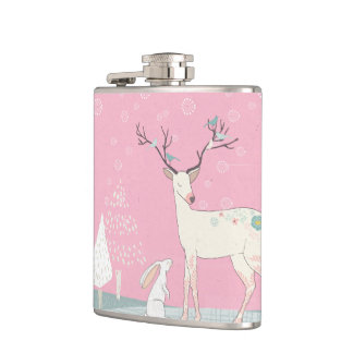Winter Reindeer and Bunny in Falling Snow Flasks